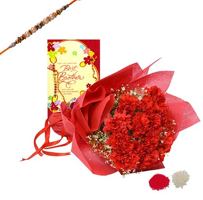 Flowers Bouquet with Greeting Card