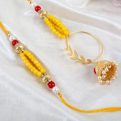 Jhumka Style Lumba Rakhi